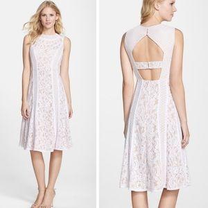 BCBG Max Avril appliqué lace midi open back dress